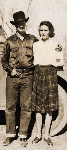Cowboy Couple 1930s Vintage Farming Sepia Sweet by mindfulresource