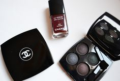 "Chanel.  Don't use just one color for the eyes; it's too matte and has a ""drying"", tired and dated look.  Use at least 2 and perhaps 3 colors - BLEND, BLEND, BLEND.  I use grey and violet with a touch of gold.  Look for the best color palette (and blush and lipstick) that is best for not only your eye color, but your overall coloring (hair, eyes, skin).  One palette looks better for blonds and green eyes than for dark brunettes, brown eyes, for example.  / MAG"