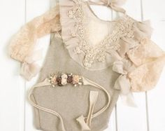 cod103 Peach baby romper with luxury by 4LittlePrincessProps