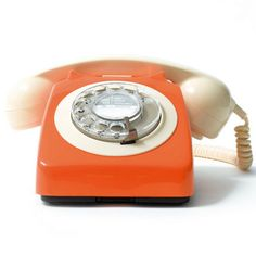 Reconditioned Table Telephone - Orange/Ivory
