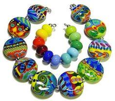*AMR* Big Brightz Tabs Lampwork Beads SRA