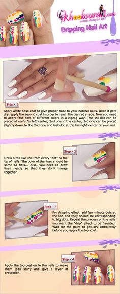 Dripping Nail Art Design Tutorial For Beginners!!!!! Attention-grabbing, polished nails add to your well-groomed persona. Nothing is better than donning lovely nail art patterns on manicured hands! When it comes to colors, rainbow shades always work! So here's a tutorial for you to show off your jazzed up nails by creating a nail drip pattern! https://www.youtube.com/watch?v=mPQjjmaDIVs