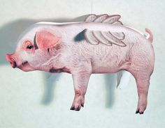 Flying Pig Object, Paper Card