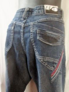 Womens AKADEMIKS Crease Embroidered Hipster JEANS Denim PANTS BLUE BOHO 9