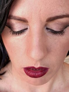 eye shadow with dark corners & red lips, Jill Suzanne makeup artist