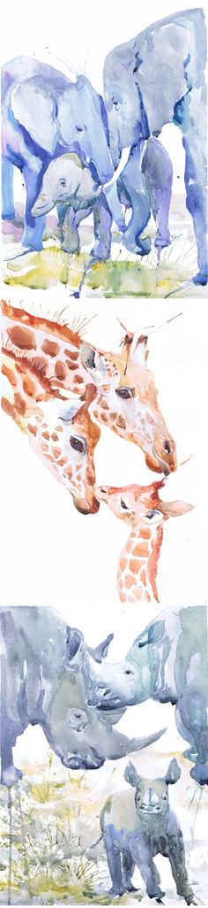Zoo Animal Nursery Decor, Family of 3, Set of 3 Prints, Watercolor Painting , Family Art, Jungle, Safari, Watercolour Animals are friends Set of 3 prints-   high quality fine art prints of my original watercolor painting. It is the work of a watercolor series Portraits of the Heart    Size paper: 14,8 × 21cm,5 4/5 × 8 1/4, A5 (with white borders) - 23.00 $  21 cm x 29,7 cm, 8 1/4 x 11.5/8, A4.(with white borders) - 41.00 $  29,7cm × 42cm, 11,69 × 16,54, A3(with white borde...