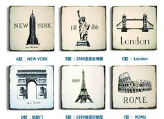 Paris, Rome, London, New York home decorations