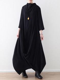 Loose Asymmetric Split-joint Long Dress Layered Fashion, Funky Fashion, Fabulous Fabrics, Hoodie Dress, Diy Dress, Cotton Style, Cool Outfits, Fashion Dresses, Loose Dresses