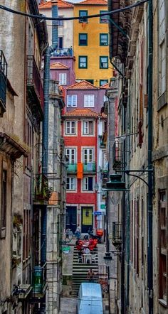 Narrow Streets of old Porto downtown Portugal