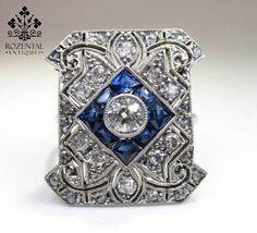 Art Deco Diamond & Sapphire Platinum Cocktail Ring