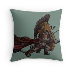 Warrior Cat by namibear. Throw Pillow. This is a cartoon drawing of a cat-like creature wearing a medieval armor and fighting. There are arrows on his shields and he is waving a spear towards the enemy. He is fierce!