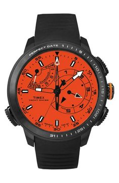 Timex® 'Intelligent Quartz - Yacht Racer' Silicone Strap Watch, 47mm