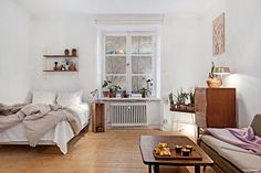 Modern bedroom with Scandinavian elements