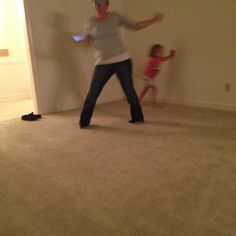 Heather and Ava having a dance party at Grammys new house