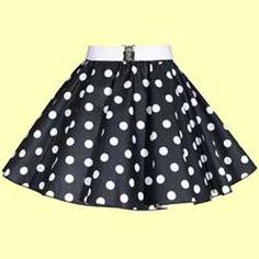 Childs Black with White Polkadot Full Circle Skirt