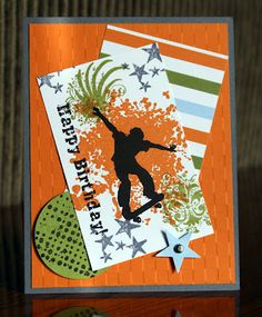 Stampin' Up!  Extreme Elements and Grunge Rock Skater Birthday Card  Krystal De Leeuw