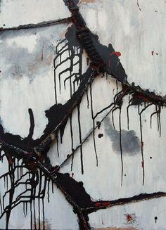 Antonio Basso, Tie#8. Acrylic on wood, hemp strings (100x73x4) #painting, #art, #modern, #abstract, #imagen