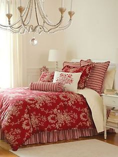 Master bedroom- maybe switch to blues instead of red but like the pattern choices