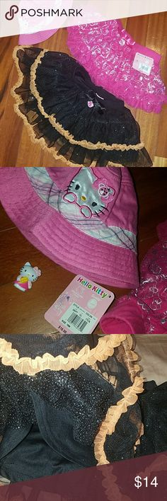 Hello Kitty tutus & hat So cute pink one NWT $16.99, 18mths. Black is multiple layers w orange frills NWOT 2t. Pink hat is OSFM. Also cute HK toy/pencil topper. Hello Kitty Dresses Casual