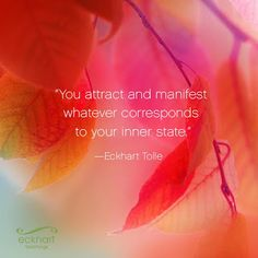 """""""You attract and manifest whatever corresponds to your inner state."""" ~ Eckhart Tolle"""