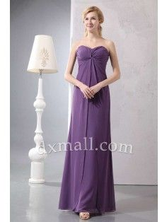 Empire Mother Of The Bride Dresses Sweetheart Ankle Length Chiffon Purple 12001030022