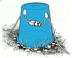 Cut a bucket with holes to keep cords off ground.