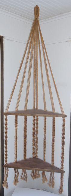 Resultado de imagem para two-tier-macrame-plant-hanging-detail Hanging Wood Shelves, Plant Shelves, Macrame Plant Holder, Plant Holders, Macrame Curtain, Macrame Projects, Macrame Knots, Macrame Patterns, Plant Hanger