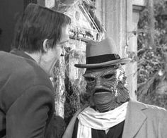 """Uncle Gilbert visits """"The Munsters"""" He's a British educated gill-man from the Black Lagoon in Transylvania. Munsters Tv Show, The Munsters, Munsters Grandpa, Munster Family, Herman Munster, Black Sheep Of The Family, Yvonne De Carlo, Female Vampire, Scary Monsters"""