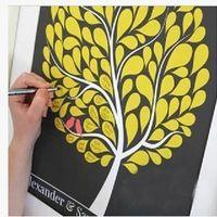 Sok stílusok Esküvői ujjlenyomat fa Signature Guest Book for lakodalom Ballagási be ábra festészet Méret S / L