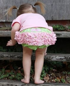 RuffleButts Lime w/Pink RuffleButt | Shabby chic, pink and green is as girly as it gets!