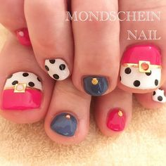 Pedicure Nail Designs, Toe Nail Designs, Pedicure Nails, Cute Toe Nails, Toe Nail Art, Love Nails, Japanese Nail Art, Nail Photos, Polka Dot Nails