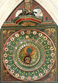 Ancient clock in the north transept, of Wells Cathedral (Somerset, England), ca. 1390. It is the second oldest working clock in the world and the oldest clock that still has its original dials. In addition to hours and minutes, the it shows the number of days since a new moon. A group of figures emerge and rotate on the quarter hour - a knight is unhorsed by a lance.