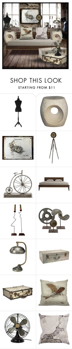 """Steampunk Bedroom"" by heather-reaves ❤ liked on Polyvore featuring interior, interiors, interior design, home, home decor, interior decorating, Noir, Dot & Bo, Jamie Young and bedroom"