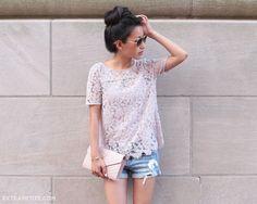 Casual outfit idea - loft lace tee, distressed denim shorts, saint laurent clutch, high bun top knot