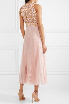 Giambattista Valli | Guipure lace and pleated silk-chiffon midi dress | NET-A-PORTER.COM