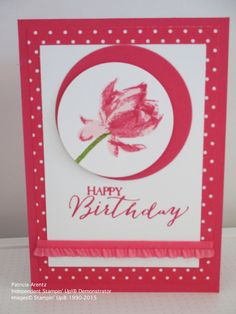 Birthday Card - using Stamping' Up Lotus Blossom and Butterfly Basics Stamp Sets, Strawberry Slush cardstock, DSP and Ribbon
