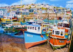 Mevagissey Harbour At Low Tide Oil Painting By Roger Turner. Exhibited at the Mall Galleries - Artists & Illustrators Artist Of The Year Exhibition 2014 Galleries In London, Cornwall England, Original Art For Sale, Fishing Villages, Seascape Paintings, Fishing Boats, My Images, Jigsaw Puzzles, Mind Puzzles