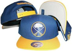 low priced 514e6 b1ca6 Buffalo Sabres Blue Yellow Two Tone Snapback Adjustable Plastic Snap Back  Hat   Cap Mitchell   Ness.  29.99