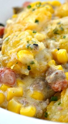 Cowboy Casserole ~ This casserole is easy to make and the whole family will love it... It's beefy, cheesy, corn-y tator tot goodness will leave your kids wanting more!