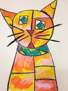 Head of Cat  inspired by Paul Klee - a Kindergarten lesson