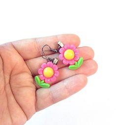 Pink flower earrings spring earrings by PokeysWorld on Etsy