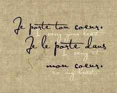 Francúzsky: Nosím svoje srdce. Nosím ho vo svojom srdci. 8x10 tlače (pytlovina zobrazený)