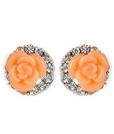 Cinderella CZ Studded Peach Rose Studs http://www.shibong.com/home/detail?id=1675395587