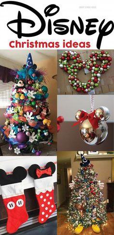 Disney Christmas Ideas Disney Christmas Decorations, Mickey Christmas, Diy Christmas Tree, Christmas Holidays, Disney Christmas Crafts, Disney Tree Topper, Disney Christmas Tree Decorations, Christmas Vacation, Disney Holidays