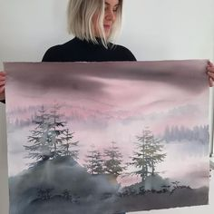 "Malin Mossberg on Instagram: ""☁️ - - - - #artwork #akvarell #watercolor #inredningsdetaljer #interordetails #aquarelle #artlife #shinrinyoku #art #natureart"" Watercolor Landscape Paintings, Tapestry, Artwork, Instagram, Home Decor, Hanging Tapestry, Tapestries, Work Of Art, Decoration Home"