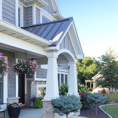 Shingle Style Home with Front Porch with Portico, Tapered Column in Grey Shingles & Stone by @carolineondesign