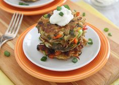 "Rainbow Potato Pancakes: Kids will ""flip"" for these flavorful pancakes named for their colorful ingredients. And each pancake packs in a full serving of vegetables! #KidsCookMonday #MeatlessMonday"