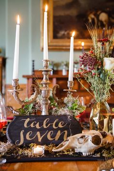Gothic wedding centerpiece with candelabra | Ashley Gerrity Photography | see more on:  http://burnettsboards.com/2014/10/gothic-wedding-ideas/
