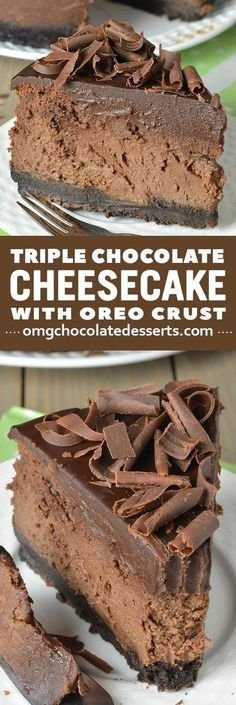 doesn't get much better than Triple Chocolate Cheesecake with an OREO crust! Best cheesecake recipe ever!It doesn't get much better than Triple Chocolate Cheesecake with an OREO crust! Best cheesecake recipe ever! Oreo Dessert, Brownie Desserts, Just Desserts, Delicious Desserts, Yummy Food, Oreo Crust Cheesecake, Best Cheesecake, French Cheesecake, Baked Cheesecake Recipe