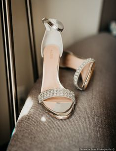 Stunning wedding shoe inspo - silver accented heel with straps {Florencia Saav Photography}